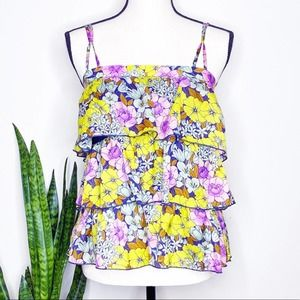 Anthro LeifNotes Bright Floral Tiered Ruffle Blous